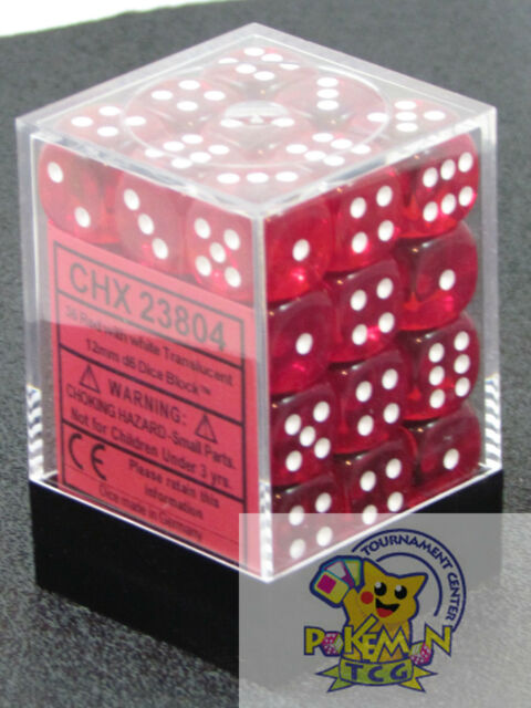 Chessex Translucent 12mm dice set red with white 36 pieces die set for mtg WoW