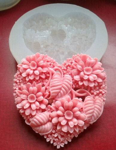 FLORAL HEART -  SILICONE MOLD - SUGARCRAFT, CLAY, RESIN - food use, mold