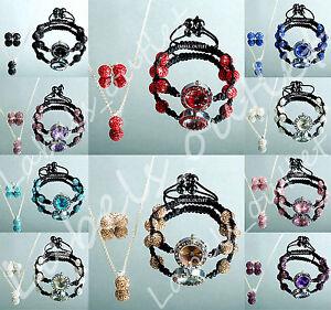 Rare-Set-Matching-Earrings-Necklace-Watch-Set-Czech-Crystal-UK-Sets