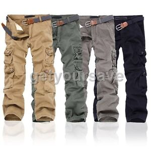 New Mens Cotton Combat Pockets Utility Casual Cargo Pants Work ...
