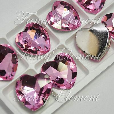 8 Rhinestone 4827 27x27mm Vintage Rose Pink Heart Sew On Glass Crystal Fancy Lot