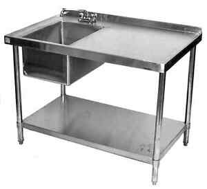 Image is loading 30x48-All-Stainless-Steel-Kitchen-Table-with-Prep-