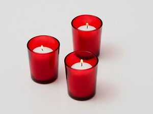 Set of 24 Red Votive Holders + 24 Votive Candles (Choose From 10 Colors)