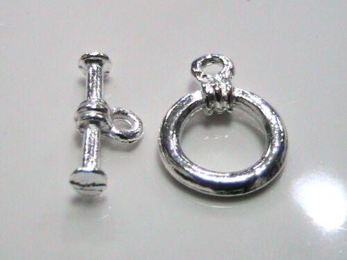 20 x Bright Silver Tone Tibetan Silver Round Toggle Clasps 16mm x 11mm O125