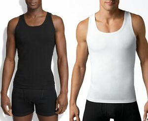 d8fb791dfc4854 Men COTTON COMPRESSION Firm Chest Tank Top Under Shirt Black White ...