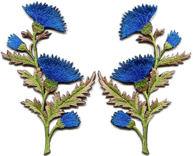 Blue carnation spray thistle pair flowers floral applique iron-on patches S-756