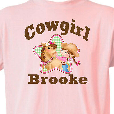 "PINK ""COWGIRL"" T-SHIRT Youth_Infant GIRL & HORSE T-Shirt Equine -FREE KID'S NAME"