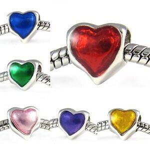 Wholesale-Lot-10pcs-Sweetie-Heart-Silver-European-Spacer-Charm-Bead-For-Bracelet