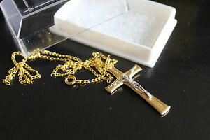 3cm-4cm-GOLD-PLATED-CRUCIFIX-CROSS-Medal-Pendant-Charm-Chain-amp-Box