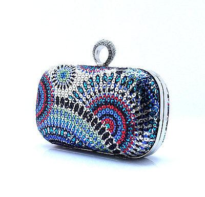 New Color blue Diamante Rhinestone Clip Evening Cocktail Hard Clutch Handbag Bag