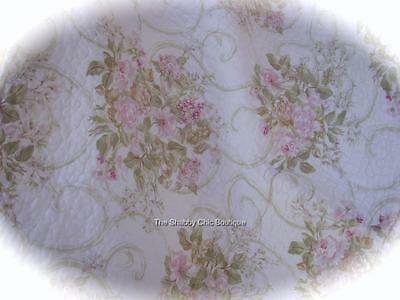Double Queen Quilt & Pillow Shams Bed Set Shabby Pink French Country Roses Chic