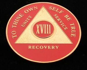 Premium Red Gold Plate Alcoholics Anonymous 18 Year Medallion Coin Token Chip