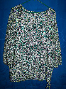 Womens-AMBER-SUN-White-Black-Turquoise-Knit-Top-Size-XL