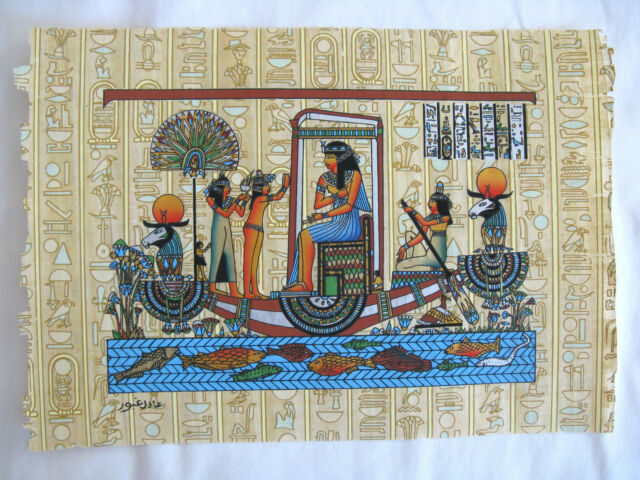"""Egyptian Papyrus Paper Painting Isis On Boat Hieroglyphic Background 9X13"""""""