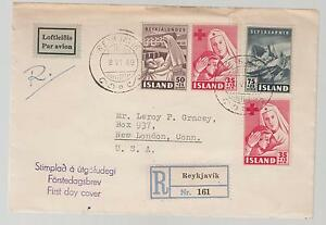 1949 Iceland First Day Cover FDC to USA # B8 B9 B11