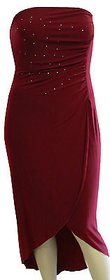 Plus Size 14-16/16-18/18-20 Chic BURGUNDY Strapless Cocktail Evening Dress NWT
