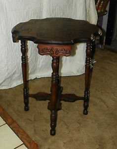 Solid-Mahogany-Carved-Scalloped-Lamp-Table-Parlor-Table-T339