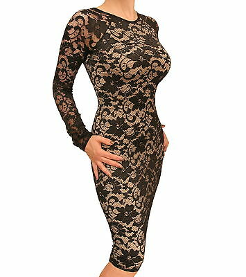 Blue Banana - New Black and Nude Lace Knee Length Dress