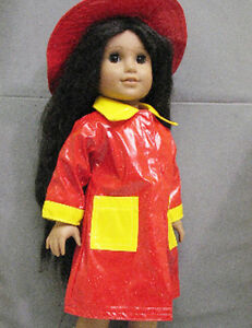 18-034-American-Girl-Doll-Clothes-Red-amp-Yellow-Rain-Coat-w-Hat-Outfit