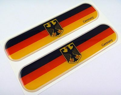 "Germany German Flag Domed Decal Emblem Chrome Car Flexible Sticker 5"" Set of 2"