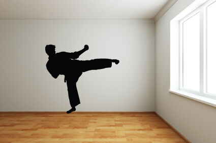 Various Colours and Sizes Wall Art Sticker RIGHT KICK KARATE KICK