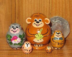 Russian-tiny-EARS-MONKEY-nesting-dolls-5-miniature-ULYANOVA-signed-Matryoshka