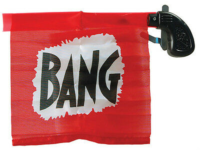 CLOWN BANG FLAG GUN - JOKE MAGIC TOY TRICK PROP FAKE CIRCUS JOKER - FANCY DRESS
