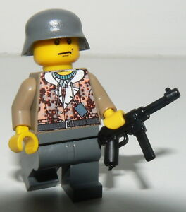 1-GERMAN-SS-soldier-WW2-amp-MP-40-custom-figure-camouflage-built-using-lego-parts