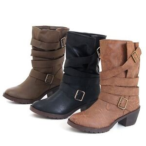 New-Women-039-s-Biker-Style-Military-Boots-2-034-Heel-Strap-Buckle-Detail-Easy-Pull-on