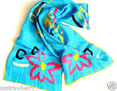 Albert Nipon 100% Silk Long Scarf 51 x 10 turquoise blue floral pattern