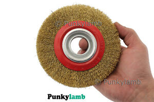 6-034-150mm-Fine-Wire-Grinding-Deburring-Wheel-Brush-For-Bench-Grinder-Adaptor-Ring