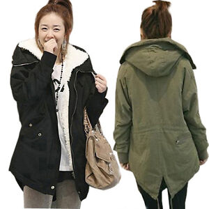 Womens Winter Thicken Warm Hooded Parka Military Jackets Fleece
