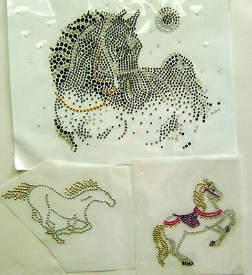 WESTERN / HORSE  RHINESTONE IRON ON APPLIQUE / HOT FIX TRANSFER