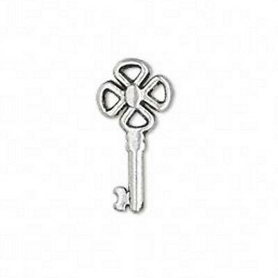 Skeleton Key Charms 3/4 Inch Steampunk Antiqued Silver Lot of 10