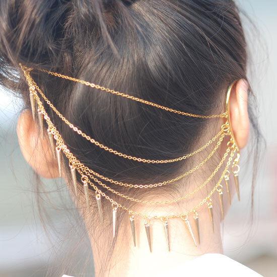 gold tone chain spikes rivet ear wrap cuff headband hair pin comb band