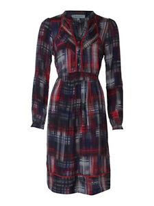 Dickins-amp-Jones-Red-amp-Black-Check-Printed-100-Silk-Dress-8-10-12-14-16-18-NEW