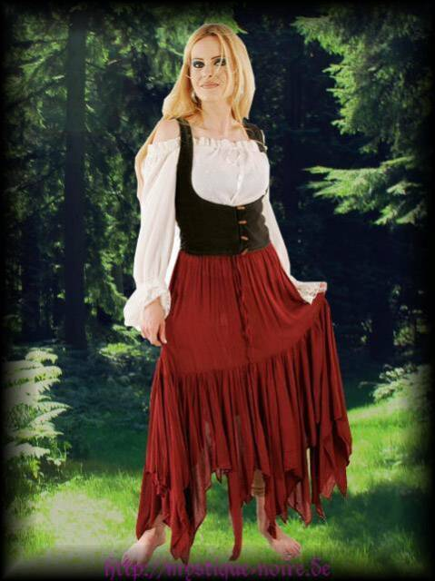 Gothic Wicca Hexen Zipfelirock bordeaux  Elfe Mittelalter Larp Neu Hexenrock