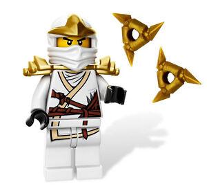 NEW-LEGO-NINJAGO-ZANE-ZX-MINIFIG-w-gold-shuriken-ninja-stars-minifigure-white