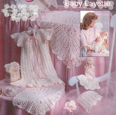 Baby Vintage Heirloom crochet Layette- gorgeous pattern  includes doll pattern