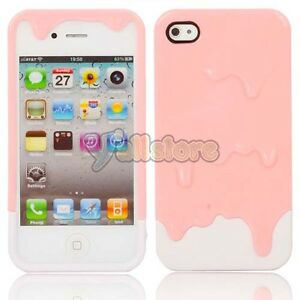 New-Polymer-3D-Carbonate-Melt-ice-Cream-Hard-Case-for-iPhone-4-4S-Pink-and-White