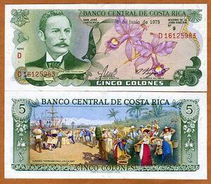 Costa-Rica-5-Colones-9-6-1975-P-236c-UNC-gt-colorful