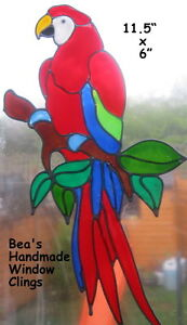 BEA-039-S-RED-MACAW-PARROT-WINDOW-CLINGS-MIRROR-TILE-CONSERVATORY-DECORATIONS