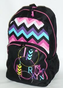 Roxy-Girls-Black-Rick-Rack-Laptop-Backpack-Bookbag-New-NWT