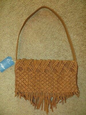 LUCKY BRAND DAISY BROWN MACRAME LEATHER FRINGE SHOULDER BAG CLUTCH PURSE NWT