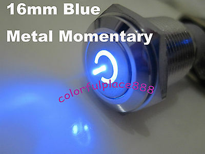 16mm 12V BLUE Led Lighted Push Button Metal Momentary Switch For Car Boat Motor