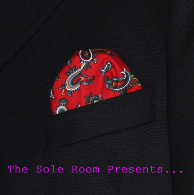 BRIGHT RED PAISLEY 2-WAY PUFF POCKET HANDKERCHIEF FOR SUIT JACKETS CROMBIES