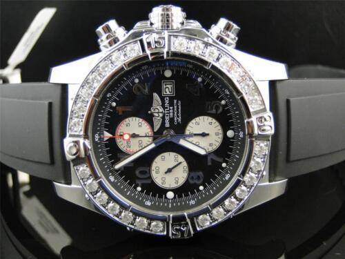Mens Breitling Super Avenger Aeromarine 48 MM Rubber Genuine Diamond Watch