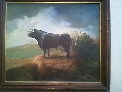 MEXICAN GUERRA ORIGINAL OIL PAINTING ON CANVAS (BRAVE BULL)