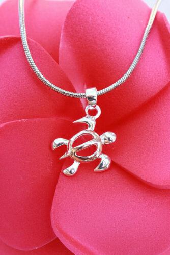 Hawaiian 925 Sterling Silver Hawaii Petro Honu Turtle Pendant Necklace #SP56306