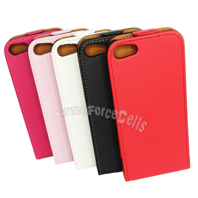 PU Leather Protective Vertical Flip Case Cover For iPhone 5 5G Black White LOT